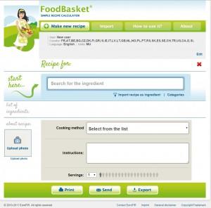 Food Basket main screen
